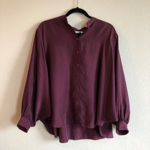 & other stories burgundy bat wing blouse size 6